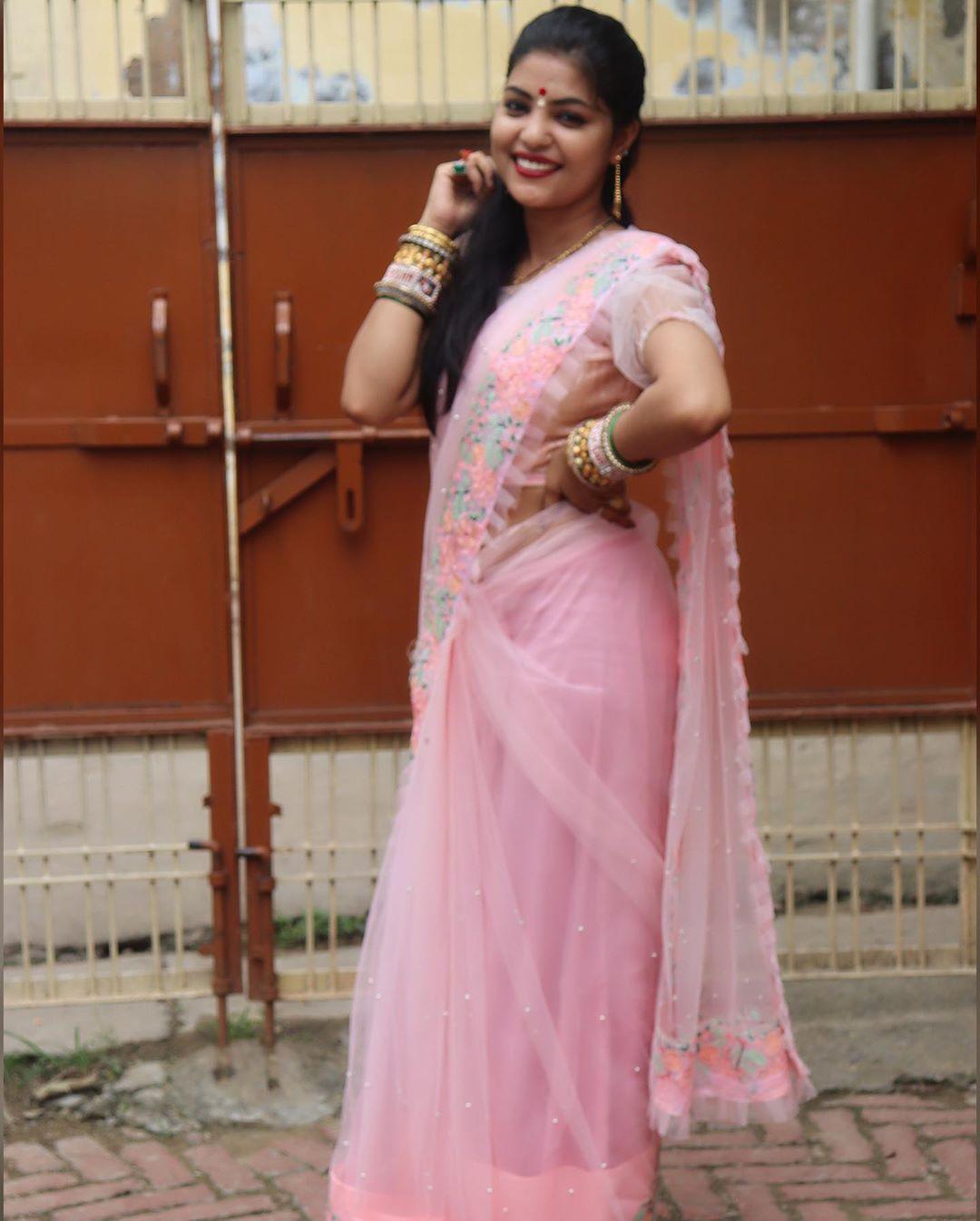 Baby Pink Color Heavy Net Designer Saree