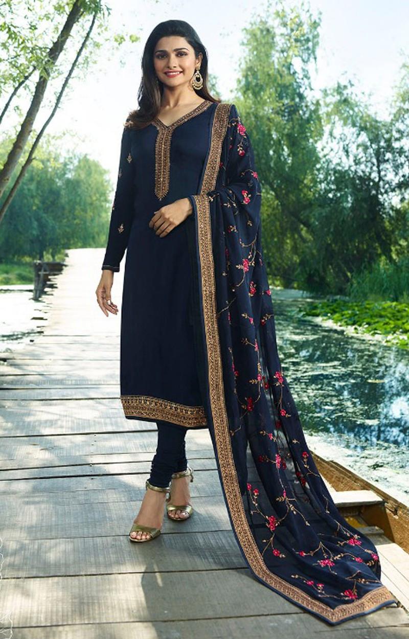 Prachi Desai Blue Georgette Churidar Suit Withsantoon Dupatta