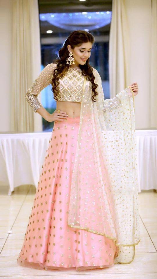 Design Light Pink Color Lehenga With Golden Choli