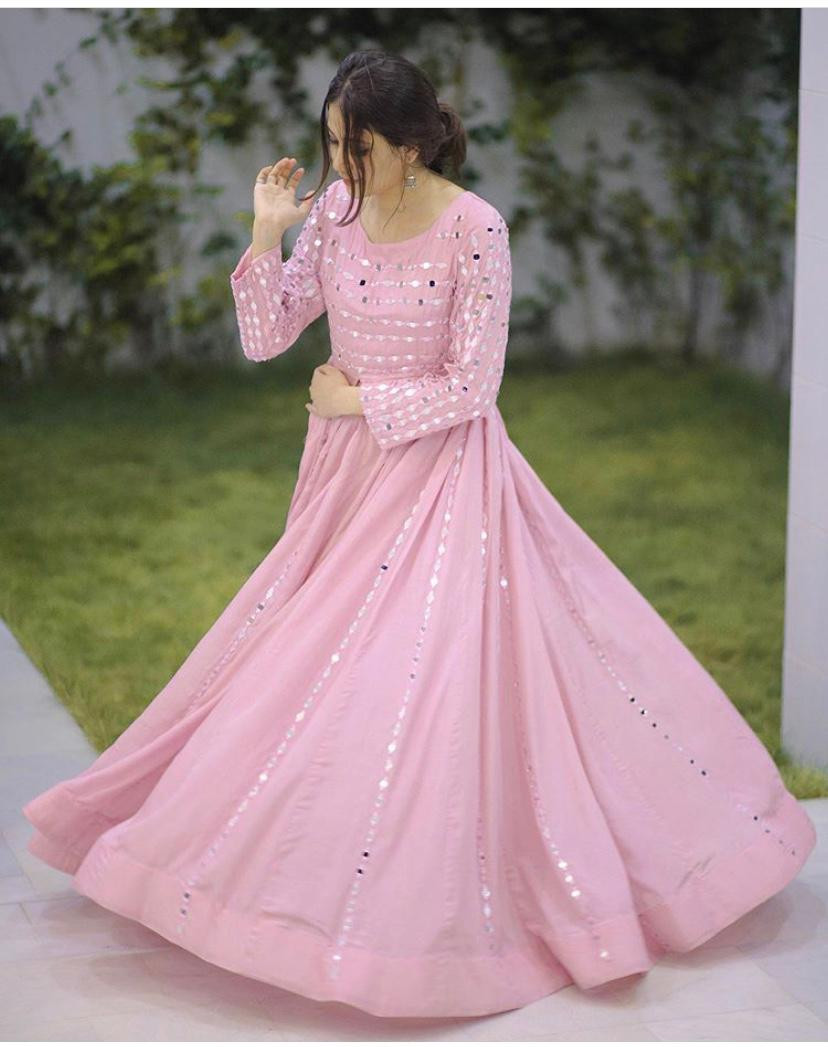 Real Mirror Work Baby Pink Color Long Gown