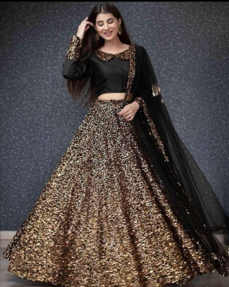 Golden Sequence Net Bridal Lehenga Choli