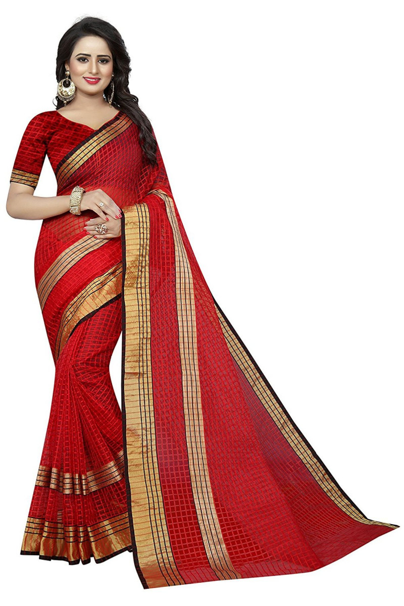 SONAKSHI RED  Cotton Silk Saree with Blouse
