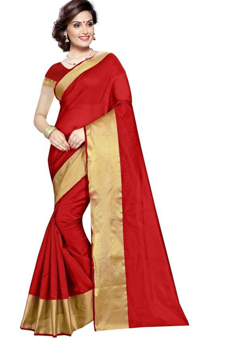 Red  Cotton Silk Saree with Blouse