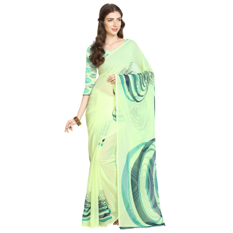 Green  Faux Georgette Saree with Bouse