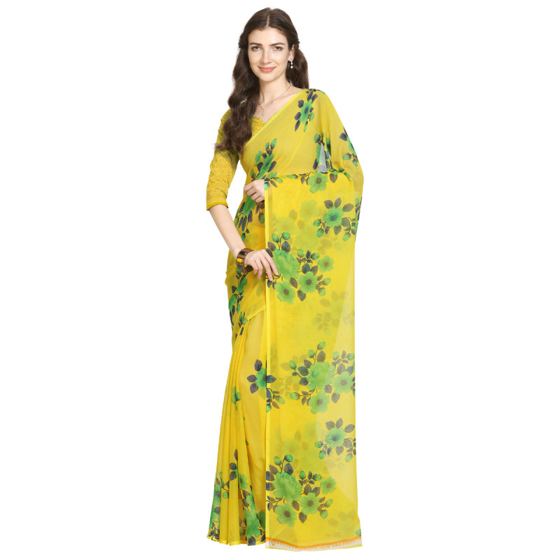 Yellow  Faux Georgette Saree with Bouse