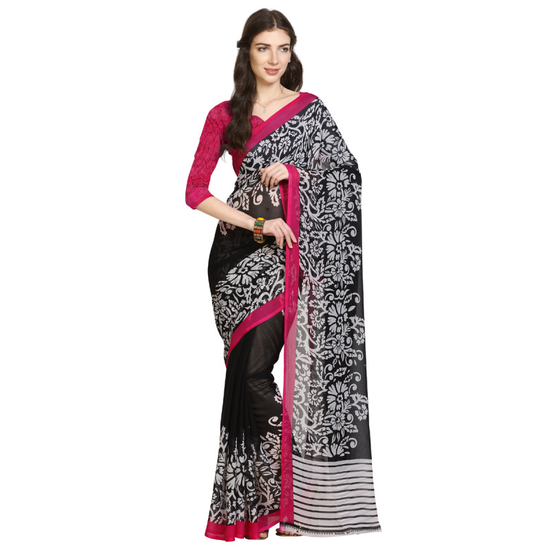 Black  Faux Georgette Saree with Bouse
