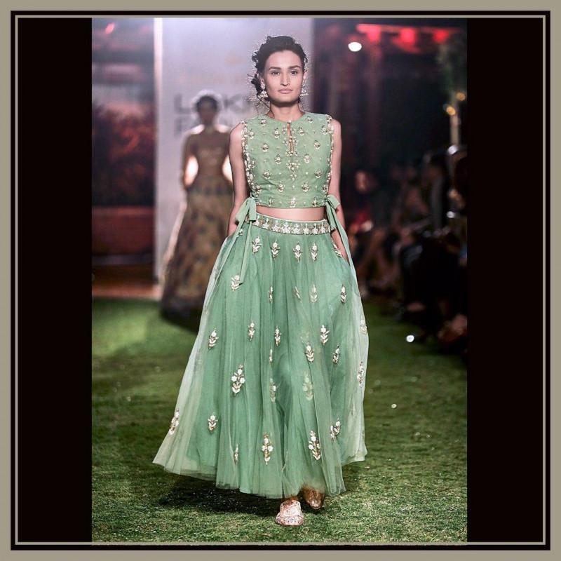 Glowing Pastel Green  Lehenga Choli  With Heavy Blouse For Wedding