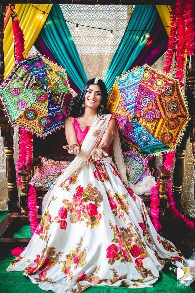 BrideMahendi Occasion Floral Design White Lehenga Choli