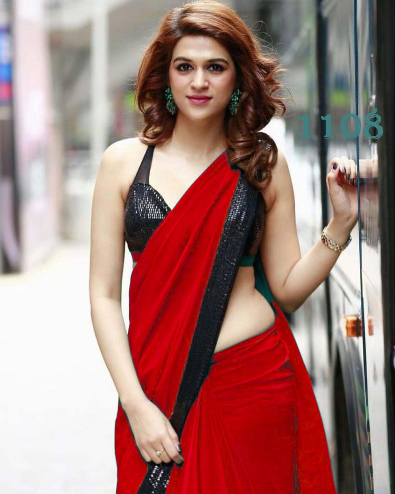 Festive Wear Red Saree With Black  Sequin Blouse