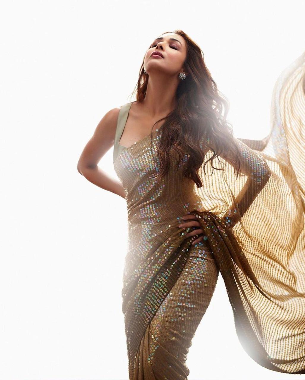 Malaika Arora Radiant Golden Bollywood Sequin Saree