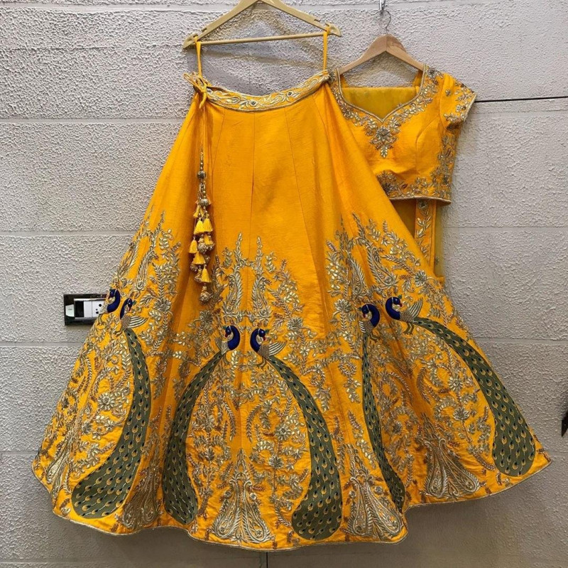 Preferable Yellow Raw Silk With Embroidery Work Wedding Lehenga Online