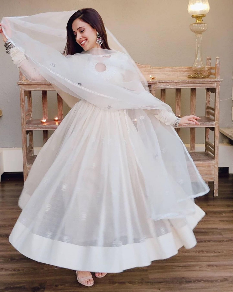 Trendy Nushrat Bharucha White Bollywood Long Anarkali Suit