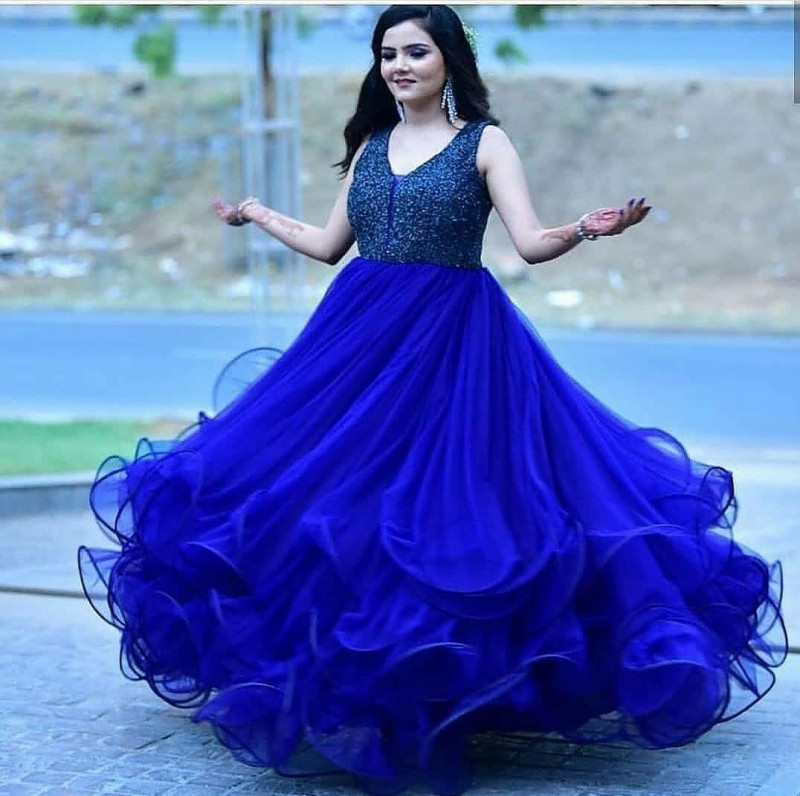 Royal Blue Party Wear Ruffle Gown For Girls