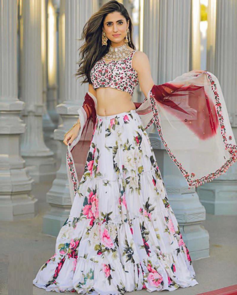 Buy Floral Pattern White Organza Lehenga Choli Online