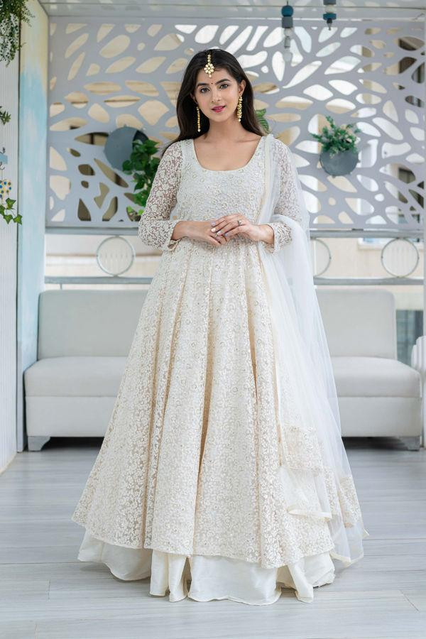 Graceful Off White Designer Anarkali Dress Online