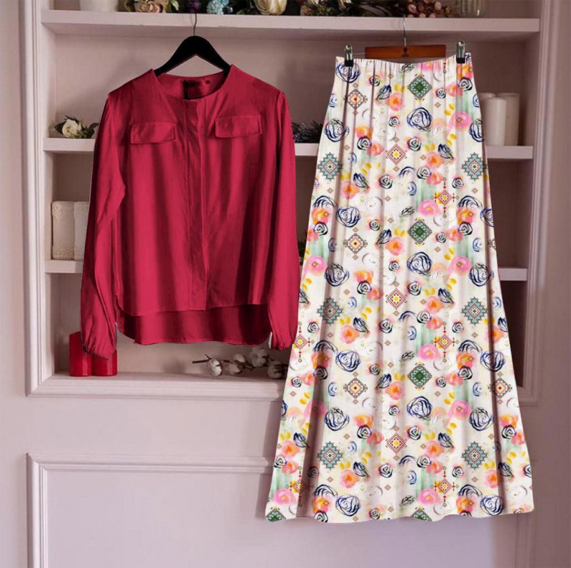 Long Skirt With White Top For Womens