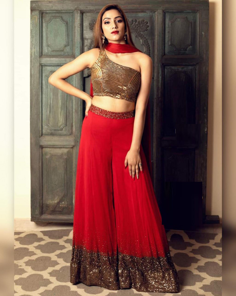 Stunning Red Stylish Palazzo Suit 2021