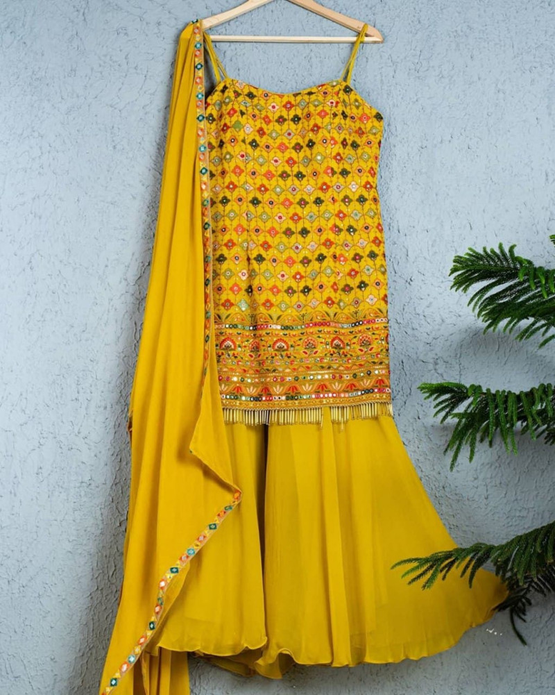 Gorgeous Embroidery Work Yellow Sharara Suit For Haldi
