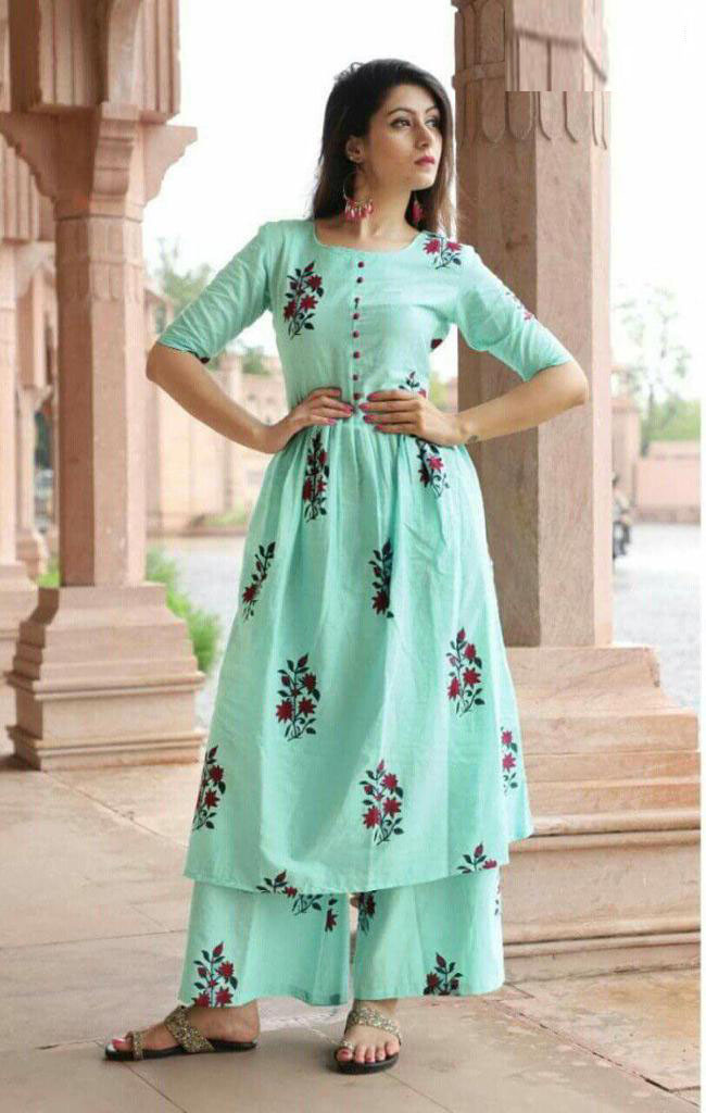 Jaipuri Cotton Print Anarkali Kurti With Palazzo