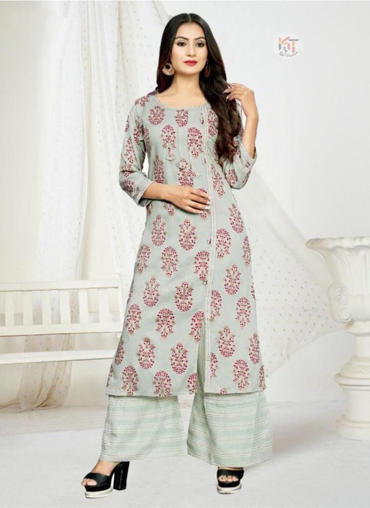 Printed Pastel Green Kurti With Palazzo