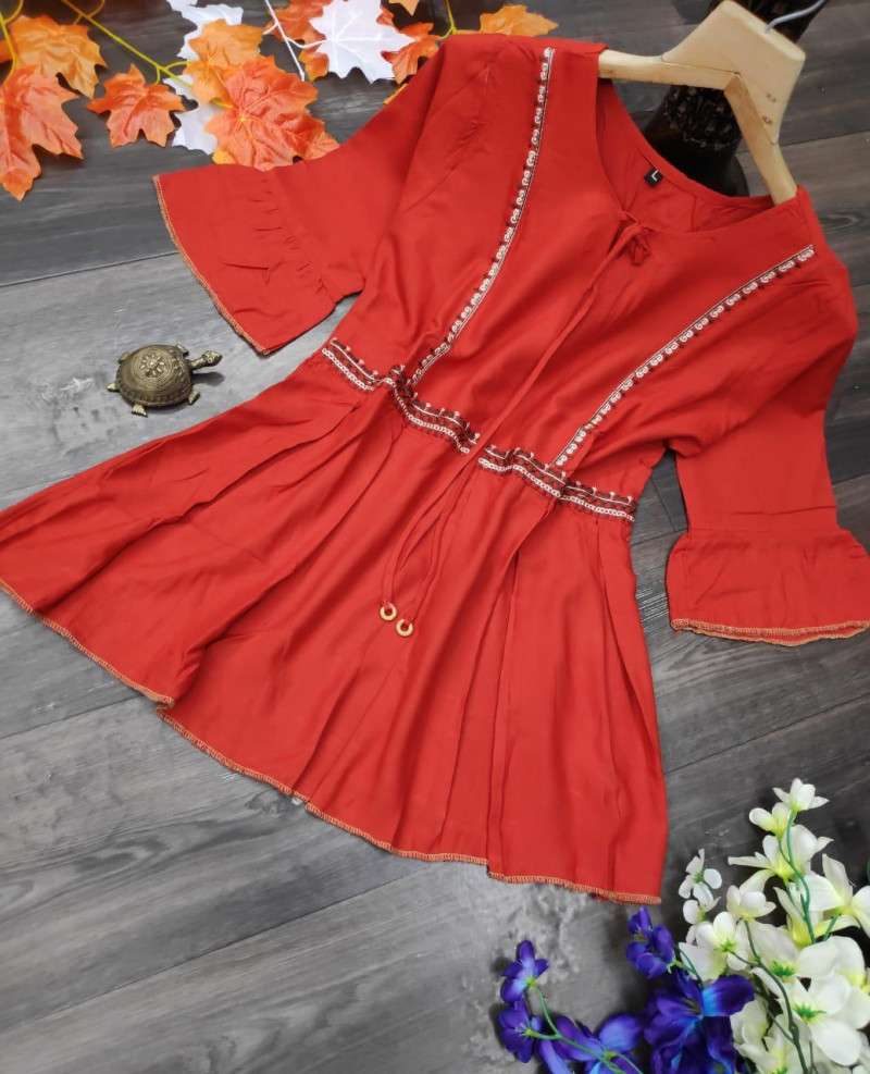 Fancy Red Rayon Top