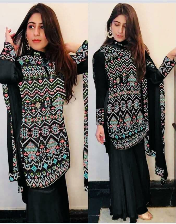 Latest EmbroideryWork BlackYankita Kapoor Wear Palazzo Suit