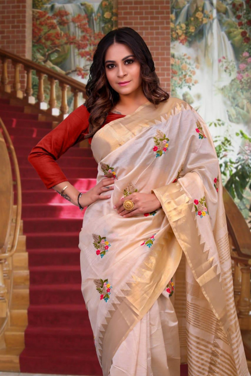 Designer Off White Embroidery Work Saree For Woman