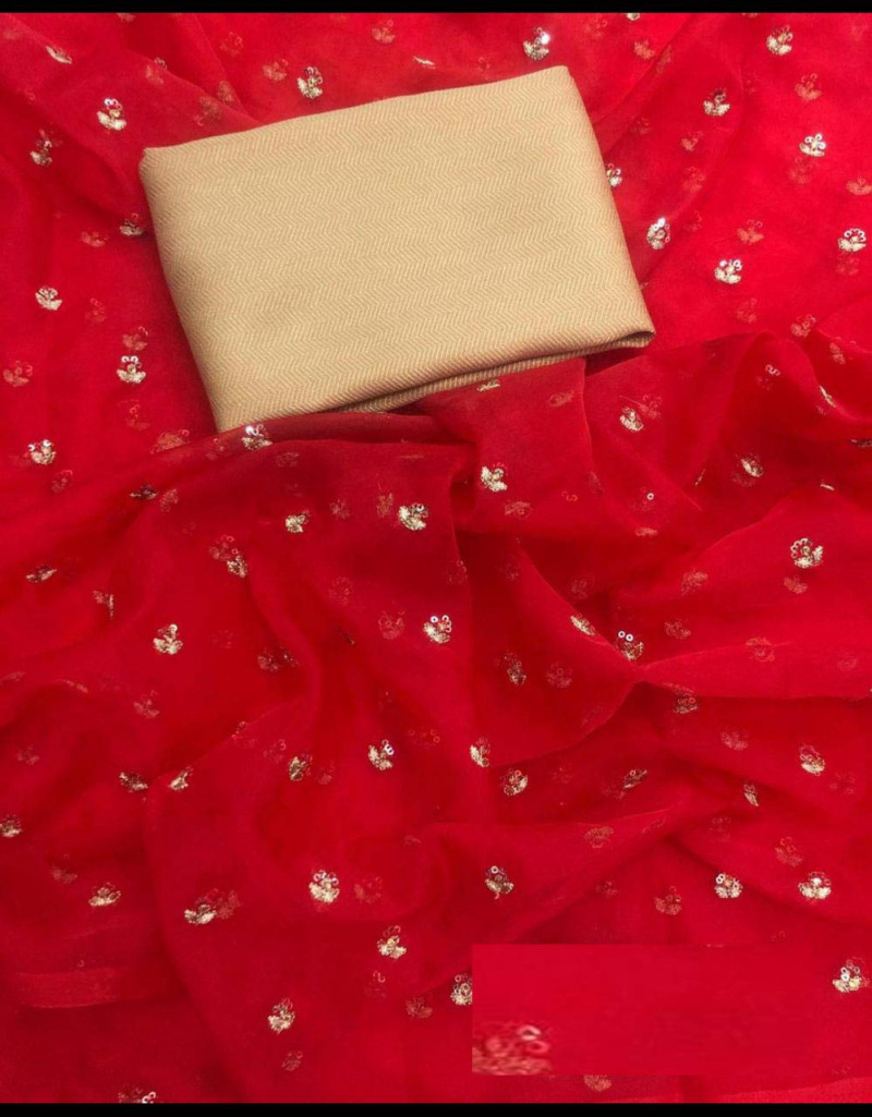 Stunning Red Organza Silk Saree With Blouse