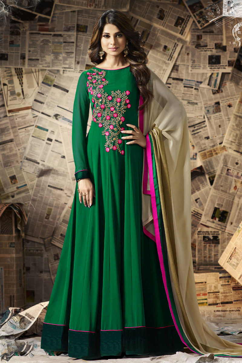 Designer Bottle Green Embroidered Anarkali Suit
