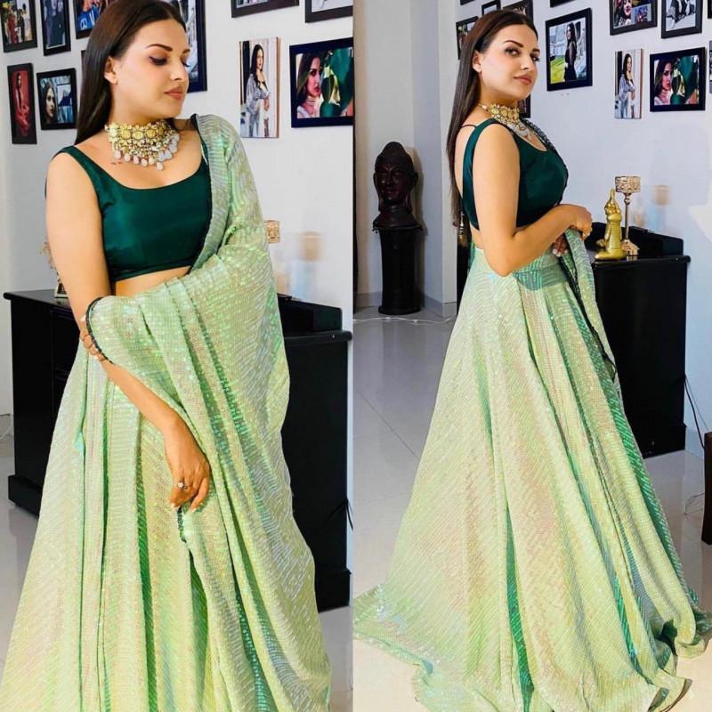 Buy Pastel Green Sequence Bollywood Lehenga Choli 2021