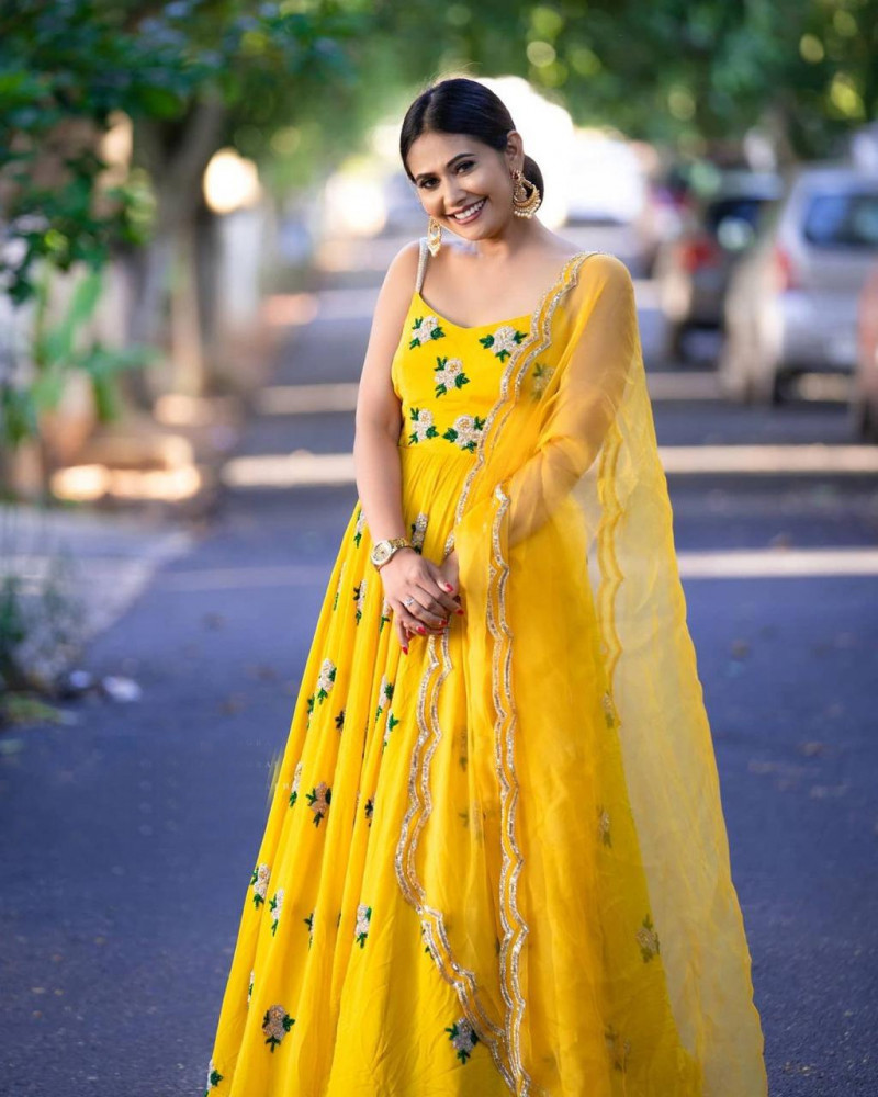 Attractive Yellow Party Wear Anarkali Suit