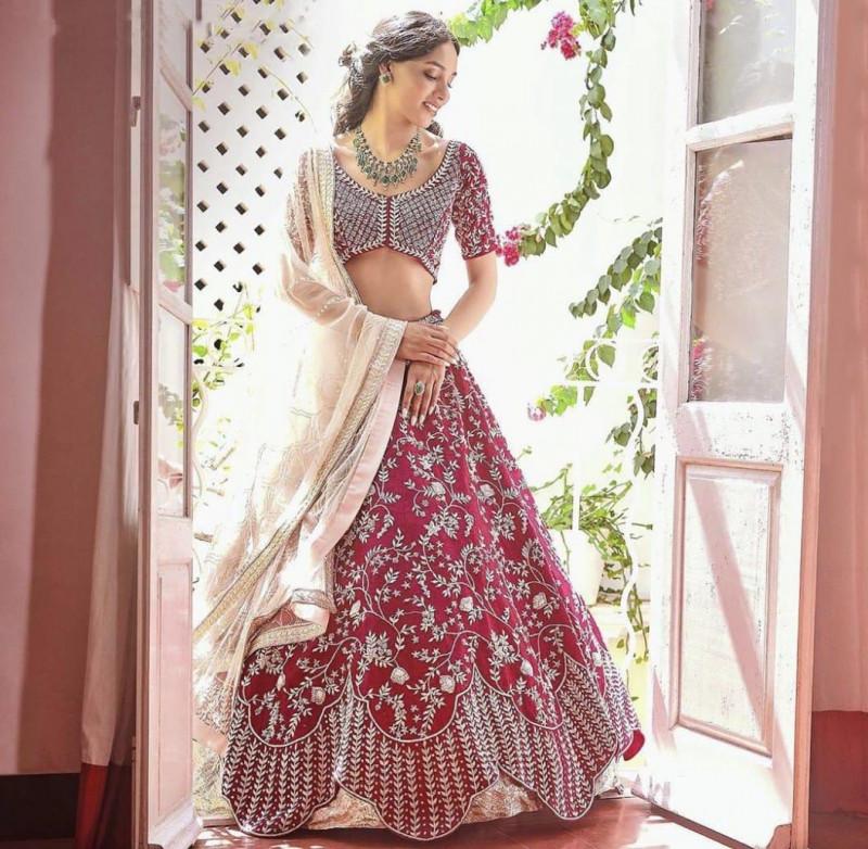 Highly Demanded Maroon Embroidered Bridal Lehenga Choli