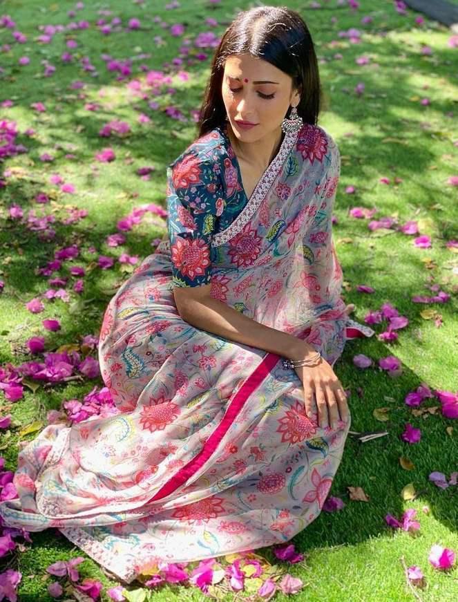 Bollywood Grey Floral Party Wear Saree
