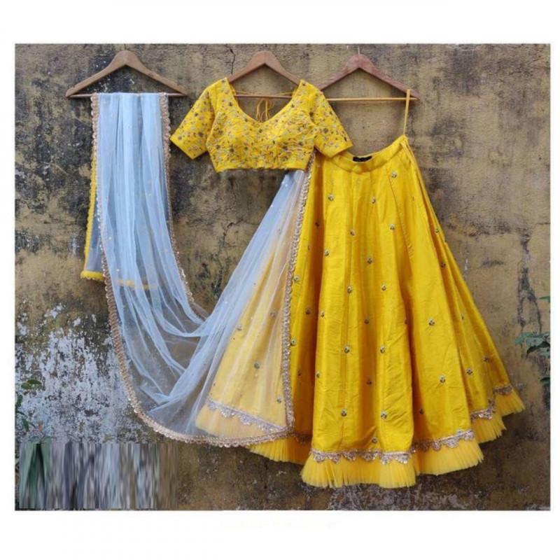 Surpassing Yellow Ruffle Party Wear Lehenga Choli
