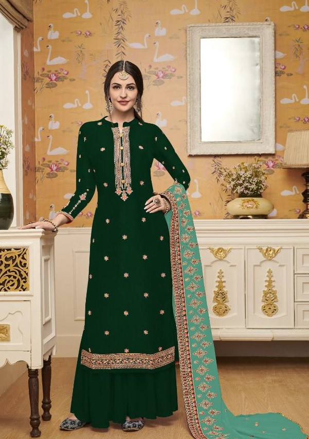 Women's Stylish Designer Stunning Dark Green Color Embroidery Work Party Wear Suit