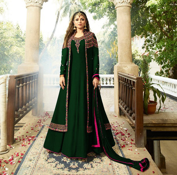 Dark Green Color Party Wear New Bollywood Georgette Suit