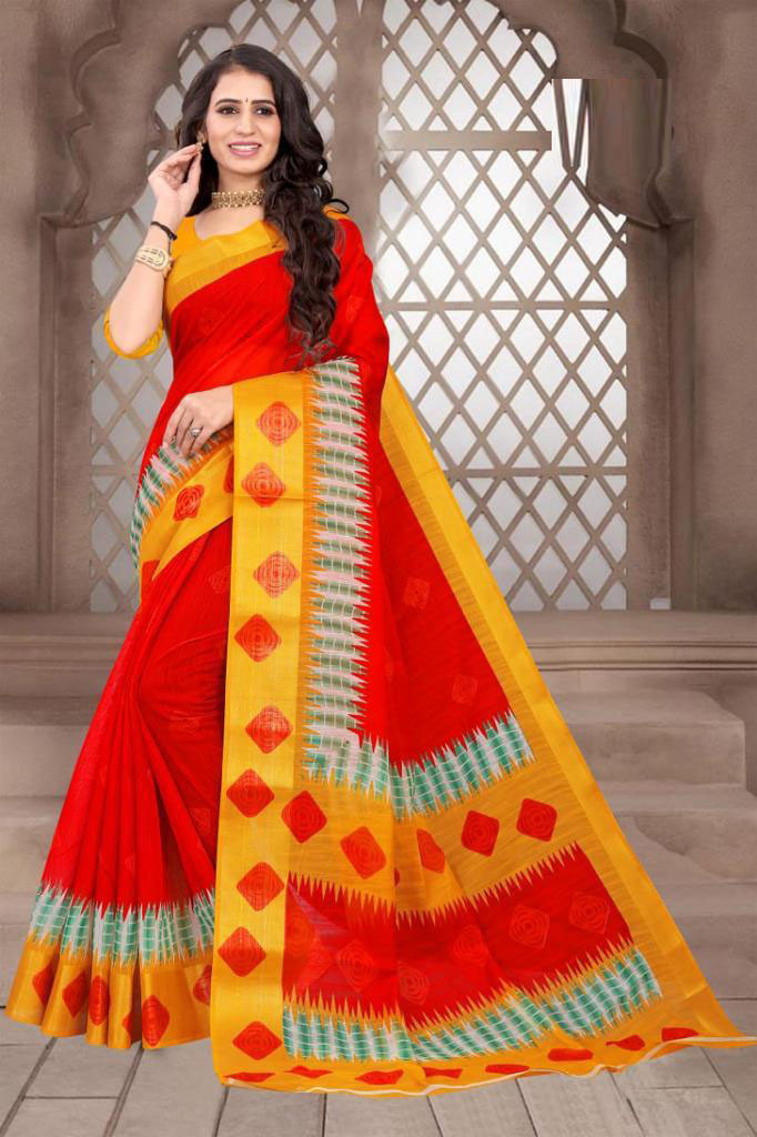 Stylish Red Color Cotton Saree