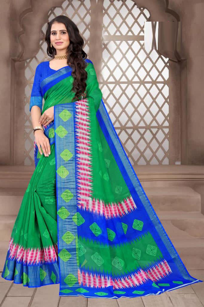 Fancy Cotton Green Color Saree