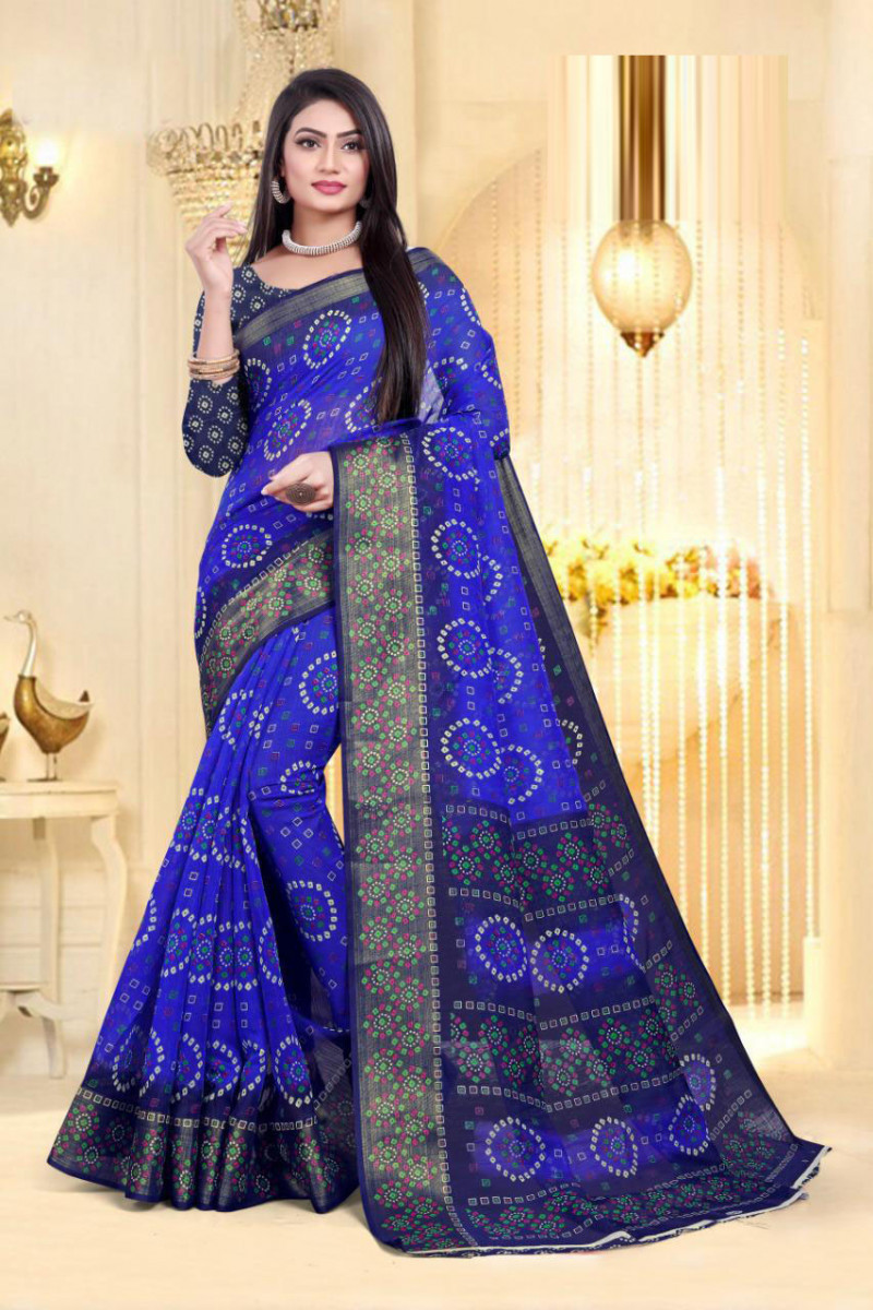 Staring Blue Color Cotton Saree