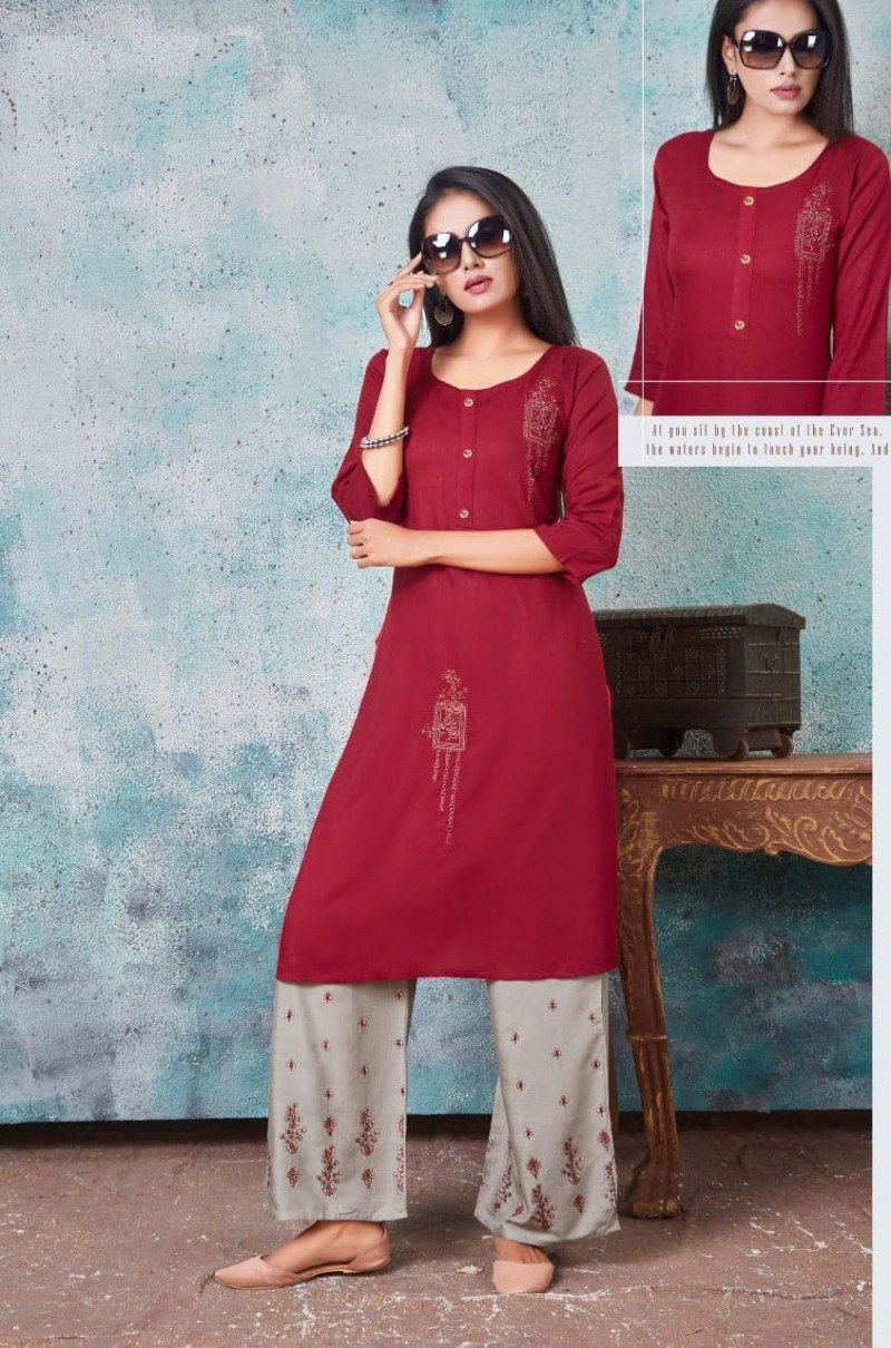 Casual Wear Maroon  Embroidered Palazzo Suit