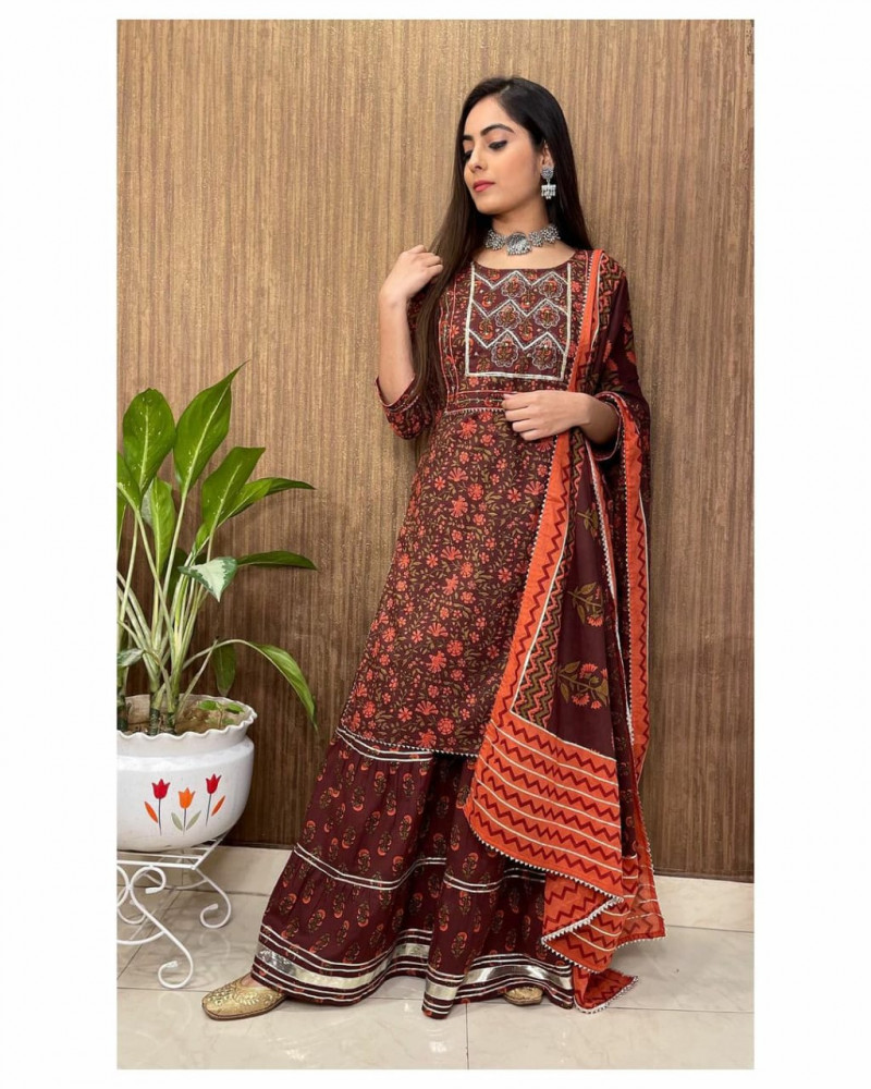 Buy Elegant Brown Palazzo Set Online
