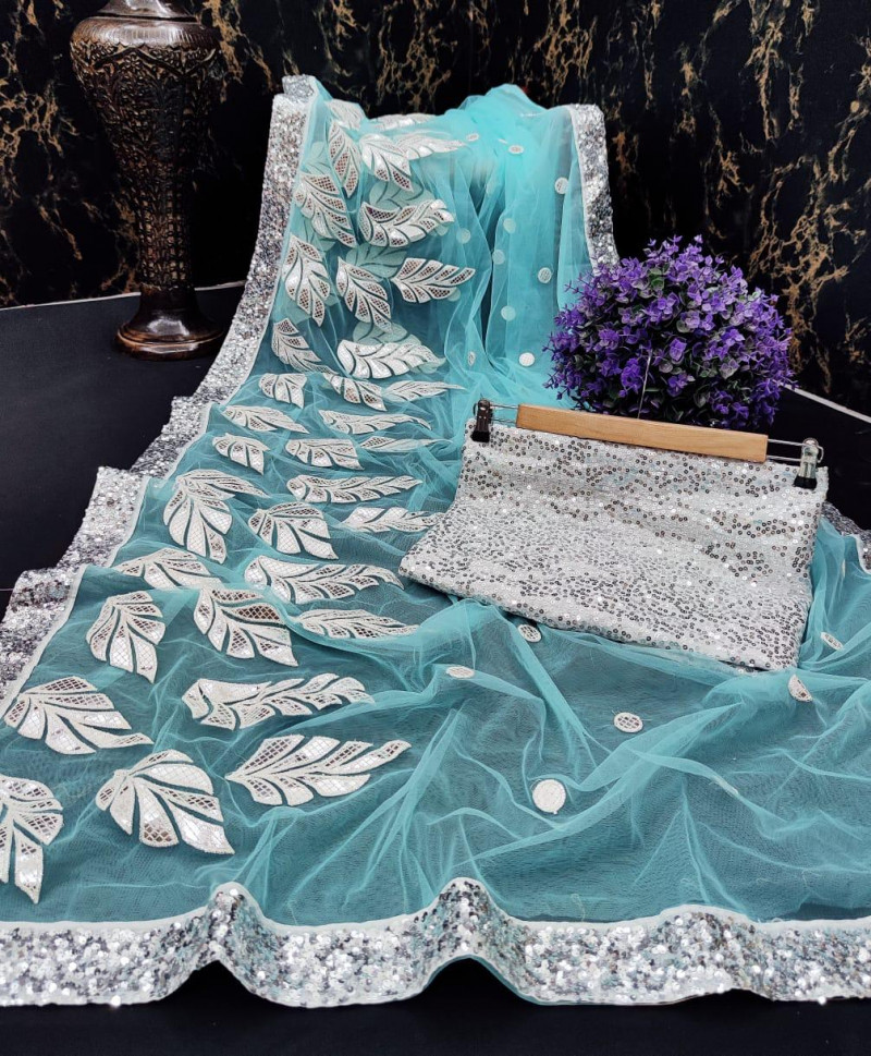 Delightful Sky Blue Party Wear Net Saree With Sequence Blouse