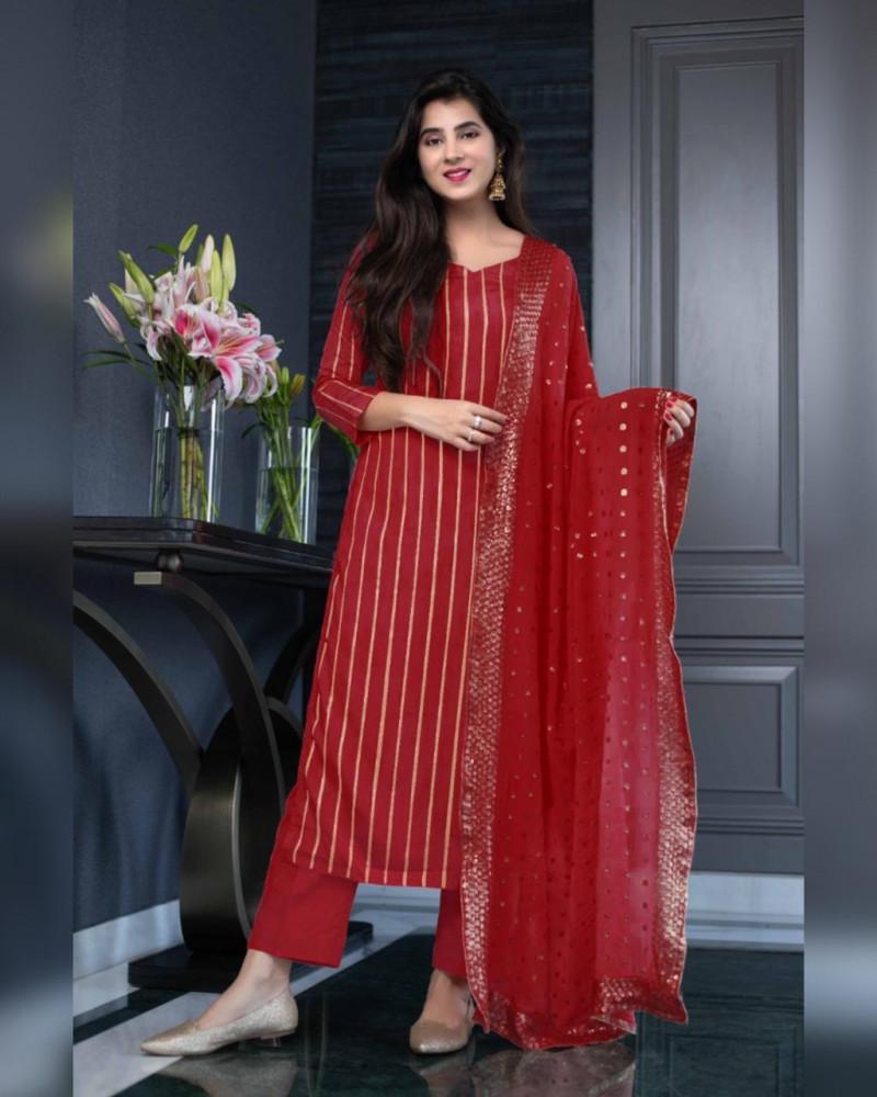 Party Wear Stunning Red Georgette Salwar Suit