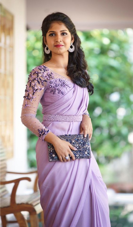 Fancy Glowing Purple Party Wear Saree