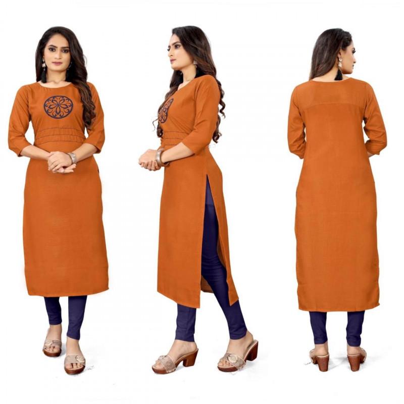 Casual Wear Orange Printed Kurti