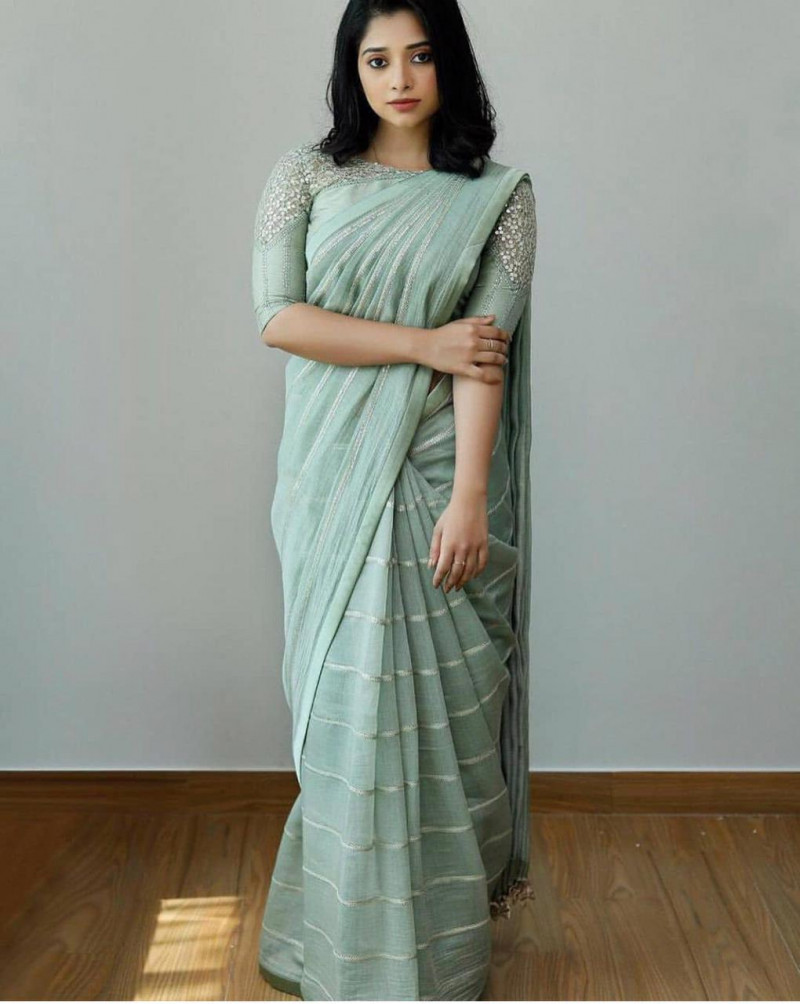 Party Wear Pastel Green Sequence Work Saree