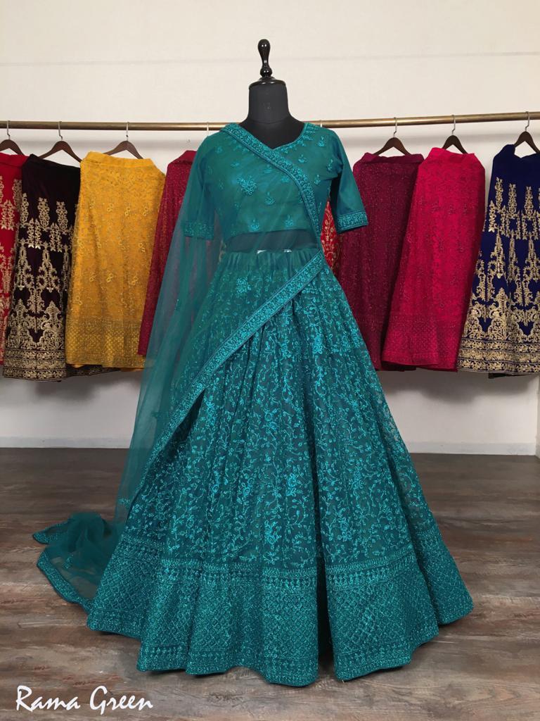 Charismatic Rama Blue Colored Party Wear Lehenga Choli