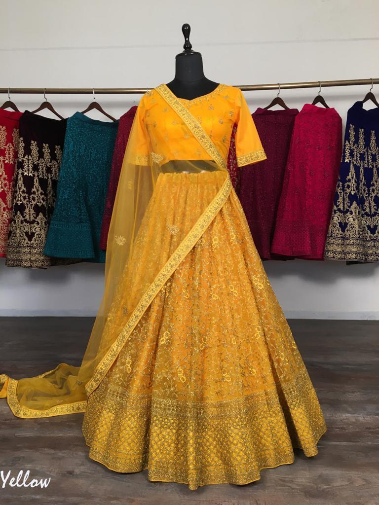 Graceful Yellow Colored Party Wear Lehenga Choli