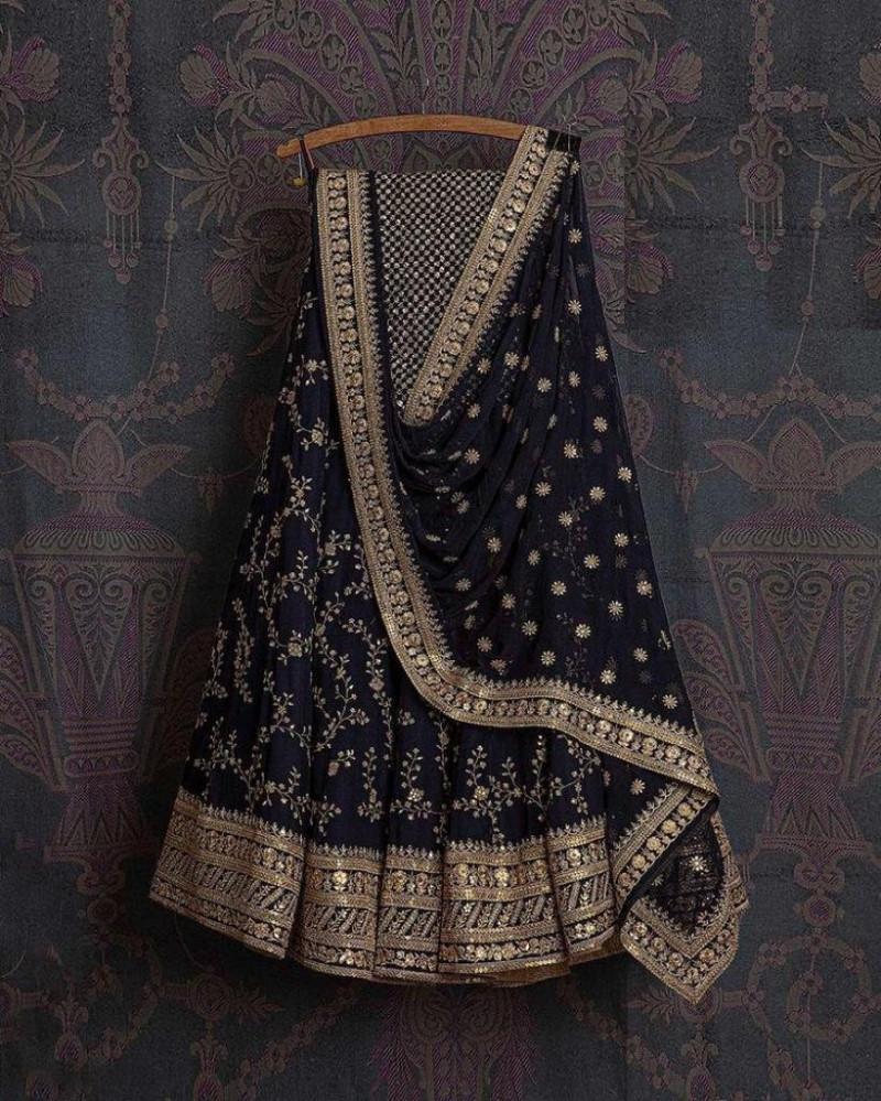 Designer Vibrant Blue Embroidery Work Lehenga Choli For Wedding