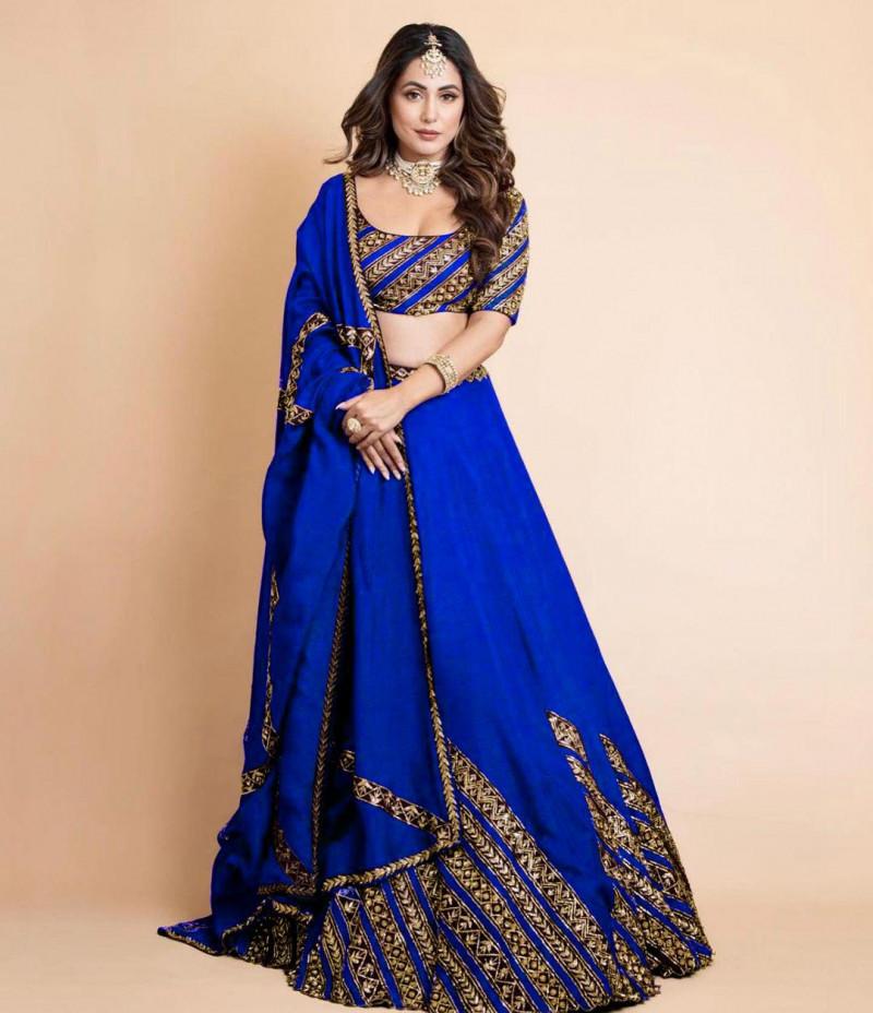 Royal Blue Bollywood Stylish Wedding Lehenga Choli